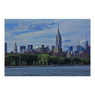 NYC-horisont från Eastet River 002 Poster