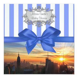 NYC-horisont på solnedgångbaby showerinbjudan Fyrkantigt 13,3 Cm Inbjudningskort
