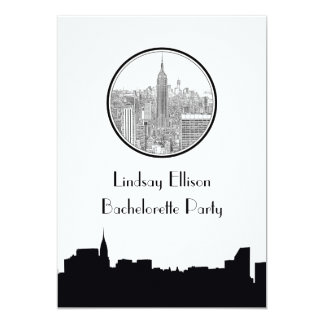 NYC-horisontESB runda etsad 01S Bachelorette 12,7 X 17,8 Cm Inbjudningskort