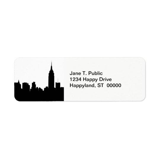 NYC-horisontSilhouette, empire state Bldg #1 Returadress Etikett