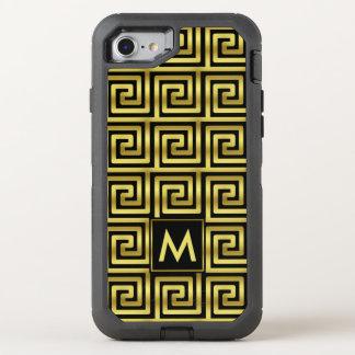Nyckel för grek för svart Monogram för Faux guld- OtterBox Defender iPhone 7 Skal