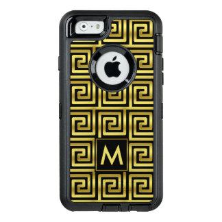Nyckel för grek för svart Monogram för Faux guld- OtterBox Defender iPhone Skal