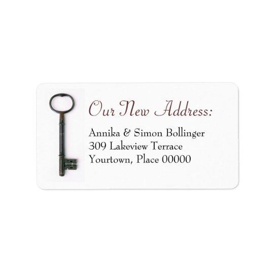 Nyckel- nytt adress för skelett adressetikett
