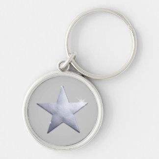 Nyckeln av stjärnorna rund silverfärgad nyckelring