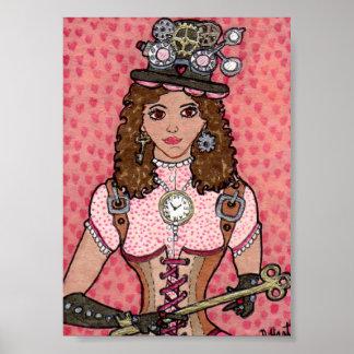 Nyckeln till henne Steampunk hjärta Poster