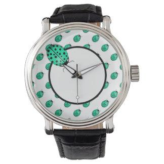 Nyckelpiga i krickablått-grönt armbandsur