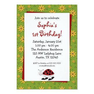 Nyckelpigadaisyfödelsedagsfest inbjudan