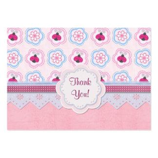 Nyckelpigan blommar baby shower - tack set av breda visitkort