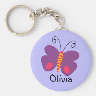 Nyckelring för fjäril för flickapersonlig
