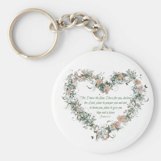 Nyckelring för hjärta för Jeremiah 29:11 blom-
