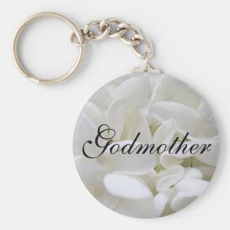 """Nyckelring för vitvanlig hortensia""""gudmor"""""""