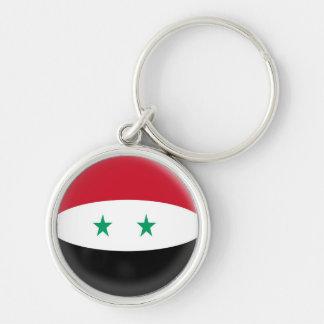 NyckelringSyrien syriansk flagga Rund Silverfärgad Nyckelring
