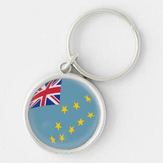 NyckelringTuvalu flagga Rund Silverfärgad Nyckelring