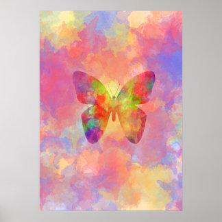 Nyckfull abstrakt fjärilsregnbågevattenfärg poster