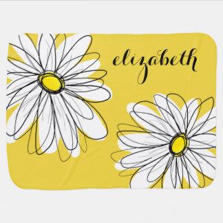 Nyckfull daisy för gult och för vit med beställnin bebisfilt