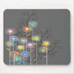 Nyckfull färgrik blommigt för Groovy blomsterträdg Mus Matta