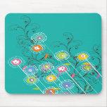 Nyckfull färgrik blommigt för Groovy blomsterträdg Musmatta