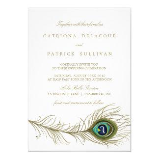 Nyckfull inbjudan för påfågelfjäderbröllop