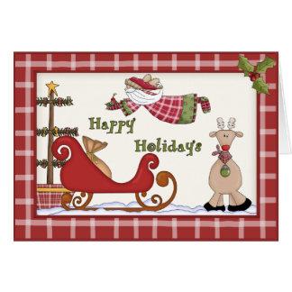 Nyckfull juljultomten & Rudolf ren Hälsningskort