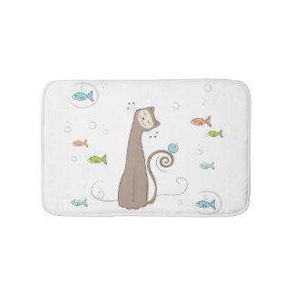 Nyckfull katt och fisk badrumsmatta
