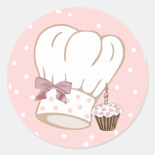 Nyckfull kock hattklistermärke runt klistermärke