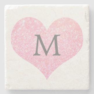 Nyckfull Monogram för bröllop för hjärta för Underlägg Sten