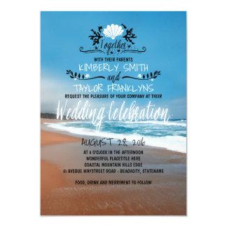 Nyckfull strandbröllopinbjudan 12,7 x 17,8 cm inbjudningskort