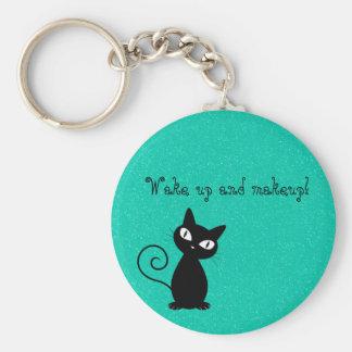 Nyckfull svart katt, övre Glittery-Vak och makeup! Rund Nyckelring