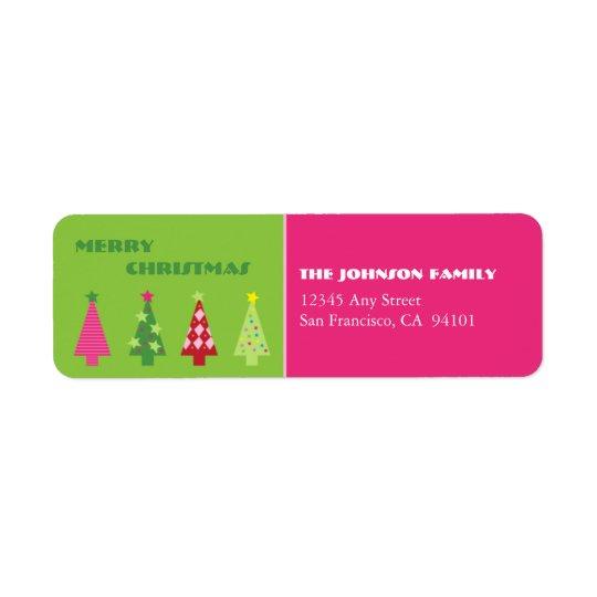Nyckfull trädhelgdagadressetiketter (rosor) returadress etikett