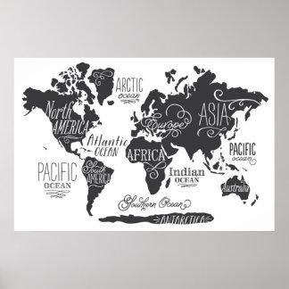 Nyckfull världskarta poster