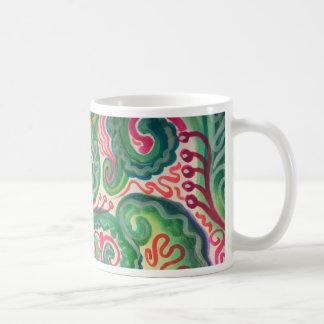 Nyckfull vattenfärg: Rosa och ljust - grönt II Kaffemugg
