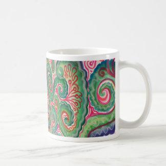 Nyckfull vattenfärg: Rosa och ljust - grönt Kaffemugg