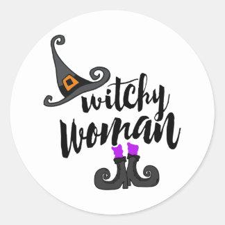 Nyckfull Witchy kvinna Halloween Runt Klistermärke