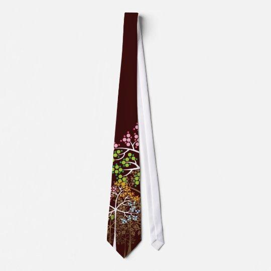 Nyckfulla fyra säsongträd på brun beställnings- slips
