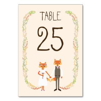 Nyckfullt kort för bord för bröllop för bordsnummer