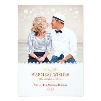Nyckfullt kort för snöflingorhelgdagfoto 12,7 x 17,8 cm inbjudningskort
