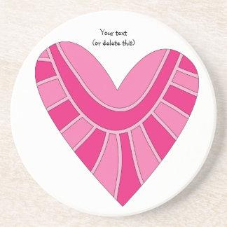 Nyckfullt rosa hjärtaklotter underlägg sandsten