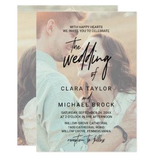 Nyckfullt urblektt foto för Calligraphy | bröllop 12,7 X 17,8 Cm Inbjudningskort