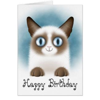 Nyfiken Siamese kattungegrattis på födelsedagen Hälsningskort