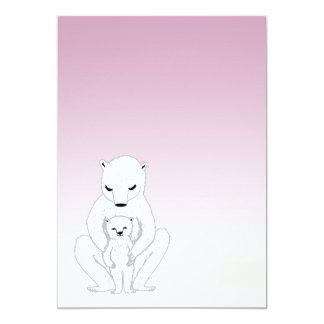 Nyfödd bebis/baby shower - gullig polar björn 12,7 x 17,8 cm inbjudningskort
