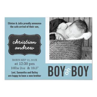 Nyfödd bebis för blått för pojkeoh pojke modern 12,7 x 17,8 cm inbjudningskort