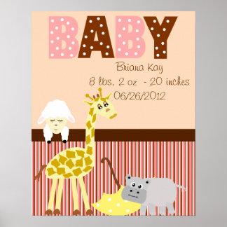 Nyfödd bebis för personligbarnkammaremjukisdjur affisch