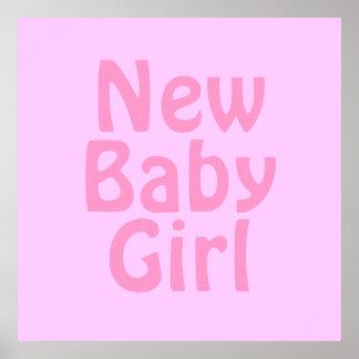 Nyfödd bebisflicka. Nätt rosor. Anpassningsbar Affisch