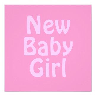 Nyfödd bebisflicka. Nätt rosor. Anpassningsbar Personliga Inbjudan