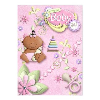 Nyfödd bebisflickainbjudan, meddelande, hälsning
