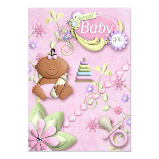 Nyfödd bebisflickainbjudan, meddelande, hälsning personliga inbjudan