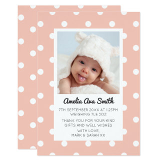 Nyfödd bebisflickameddelandet/tackar dig att card 12,7 x 17,8 cm inbjudningskort