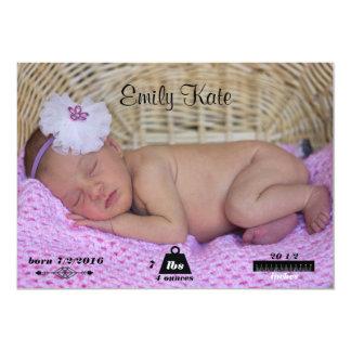 Nyfödd bebisfödelsemeddelande 12,7 x 17,8 cm inbjudningskort