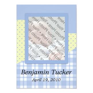 Nyfödd bebisfödelsemeddelande - pojke 12,7 x 17,8 cm inbjudningskort