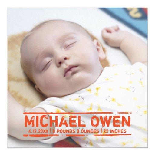 Nyfödd bebisfrimärke - födelsekortmeddelande inbjudningskort